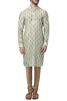 Mint Green Mughal Printed Kurta with Churidaar Pants by Pranay Baidya Men