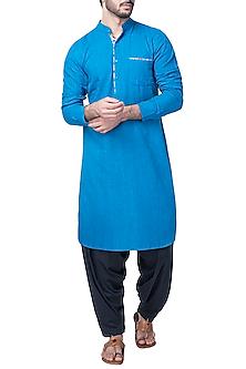 Blue Kurta with Patiala Pants by Pranay Baidya Men