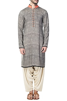 Grey Orange Persli Printed Kurta With Ivory Patiala Pants by Pranay Baidya Men