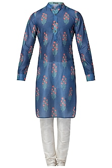 Blue and Red Floral Printed Kurta with Churidaar Pants
