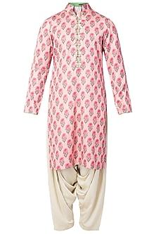 Pink Floral High Collar Double Kurta with Ivory Patiala Pants  by Pranay Baidya Men