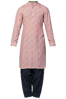 Red Floral Printed Kurta with Blue Patiala Pants
