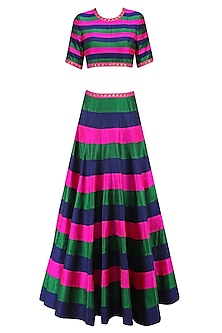 Navy, Bottle Green and Hot Pink Striped and Floral Sequinned Lehenga Set