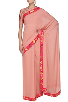 Rose Pink and Gold Applique Work Saree and Blouse Set by Priyal Prakash