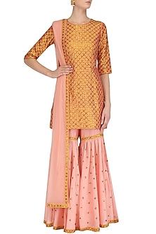 Cantaloupe Orange and Rose Pink Embroidered Kurta and Gharara Set by Priyal Prakash