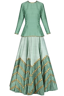 Dusty Mint Embroidered Short Kurta with Pale Mint Lehenga Skirt