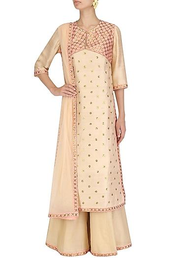 Light Fawn and Rose Pink Embroidered Kurta and Palazzo Pants Set by Priyal Prakash