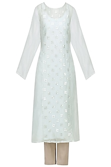 Ice Blue Embellished Kurta with Light Grey Pants by Priyal Prakash