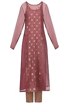 Dark Mauve Embellished Kurta with Pants by Priyal Prakash