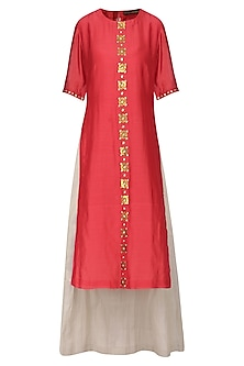 Red Embellished Kurta with Light Grey Lehenga Skirt Set