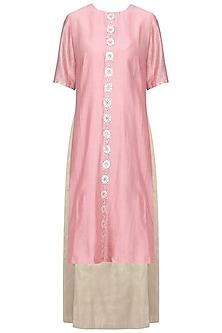 Pink Embellished Kurta with Light Grey Lehenga Skirt Set