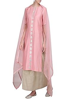 Pink Embellished Kurta with Light Grey Lehenga Skirt Set by Priyal Prakash