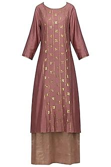 Dark Mauve Embellished Kurta with Lehenga Skirt Set by Priyal Prakash