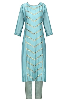 Turkish Blue Embellished Kurta Set by Priyal Prakash