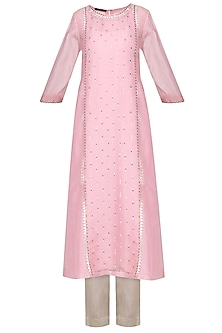 Pink Embellished Kurta with Light Grey Pants by Priyal Prakash