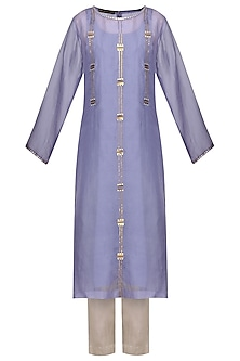 Lavender Embellished Kurta with Light Grey Pants