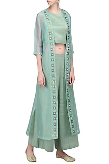 Dusty Mint Embellished Jacket with Crop Top and Palazzo Pants by Priyal Prakash