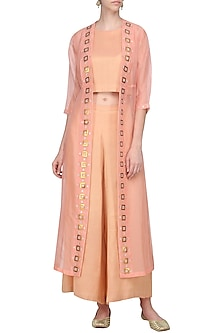 Light Peach Embellished Jacket with Crop Top and Palazzo Pants by Priyal Prakash