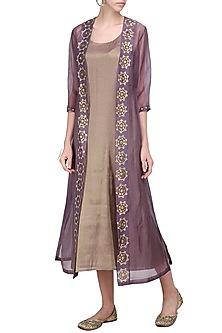 Dusty Mauve Embellished Jacket with Brown Midi Dress by Priyal Prakash