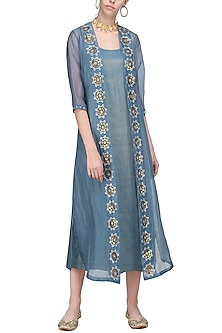 Charcoal Blue Embellished Jacket with Midi Dress by Priyal Prakash