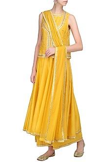 Mango Yellow Embellished Jacket Set by Priyal Prakash