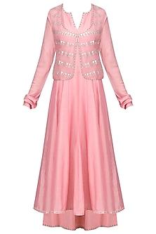 Cherry Pink Embellished Jacket Set by Priyal Prakash