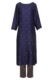 Navy Blue Embroidered Kurta Set