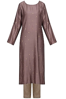 Dusty Mauve Embellished Kurta Set