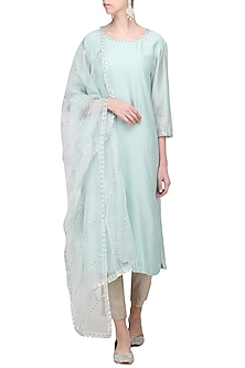 Pale Mint Embroidered Kurta Set by Priyal Prakash