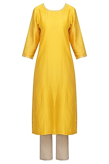 Mango Yellow Embellished Kurta Set