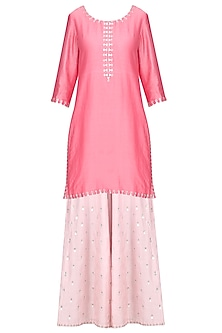 Watermelon Pink Embroidered Kurta with Sharara Pants Set