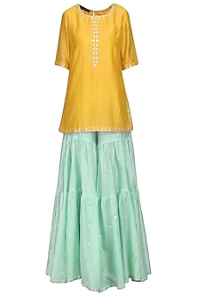 Mango Yellow Embroidered Kurta with Sharara Pants Set