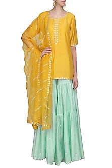 Mango Yellow Embroidered Kurta with Sharara Pants Set by Priyal Prakash