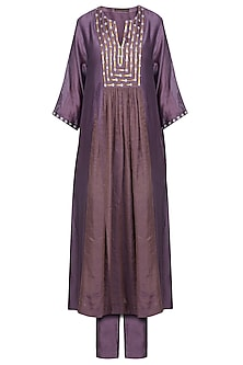 Dusty Violet Embroidered Kurta with Pants