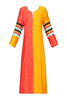 Yellow and Orange Half and Half Striped Kurta