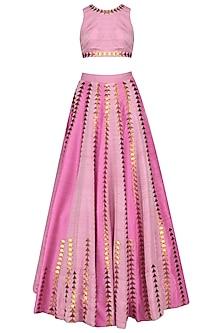 Light Pink and Gold Applique Work Lehenga Set by Priyal Prakash