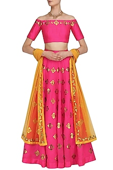 Hot Pink and Gold Motifs Lehenga with Off Shoulder Blouse by Priyal Prakash