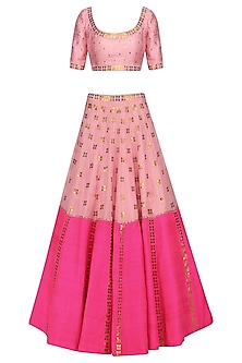Rose Pink and Hot Pink Applique Work Lehenga Set by Priyal Prakash