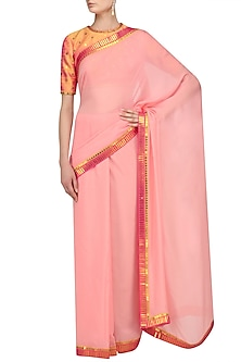 Rose Pink Saree and Orange Embroidered Blouse Set by Priyal Prakash