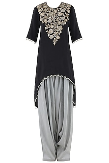 Black Embroidered High-Low Kurta Set