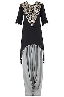 Black Embroidered High-Low Kurta Set