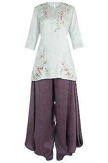 Mint Embroidered Kurta with Eggplant Cowl Pants Set