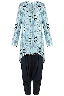 Blue High-Low Printed Kurta with Black Low Crotch Pants Set