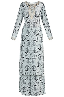 Mint Printed and Embroidered Kurta with Palazzo Pants Set