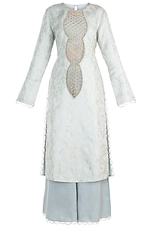 Powder Blue Embroidered Kurta with Bustier, Pants and Dupatta
