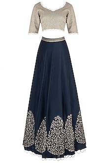 Mint and Navy Blue Embroidered Lehenga Set