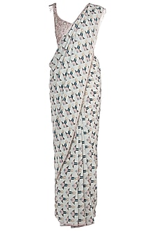Off White Printed Saree with Blush Tassels Blouse