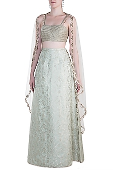 Mint Embroidered Lehenga Set by Payal Singhal