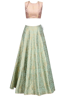 Dusky Rose and Mint Brocade Lehenga Set