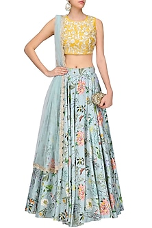 Mustard Embroidered and Blue Printed Lehenga Set by Payal Singhal